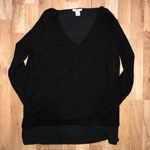 BAR III Black Cut Out Long Sleeve V Neck Top M